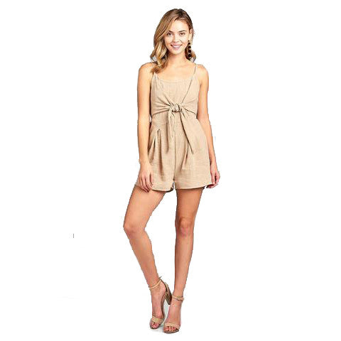 Women's Front Tie Tank Romper with Open back - Free Wear USA
