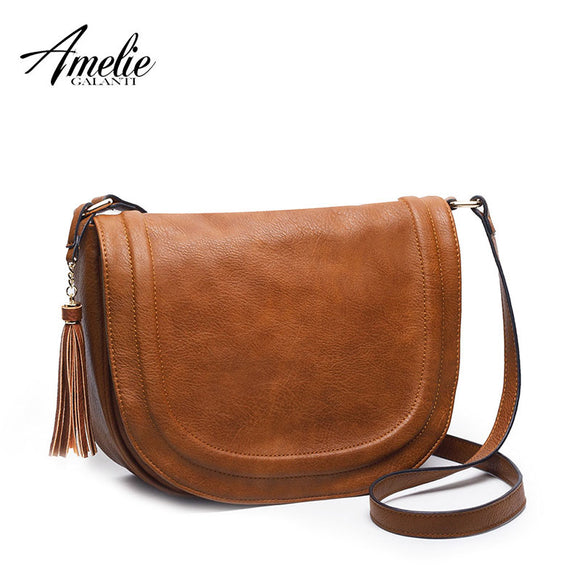 AMELIE GALANTI large saddle bag crossbody bags for women brown flap purses  with Tassel over the shoulder long strap - Free Wear USA