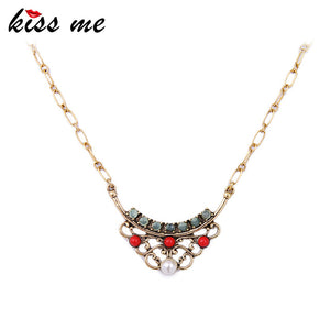 KISS ME Simple Fashion Geometric Pendant Necklace Now Trending Bib Necklace Jewelry for Women