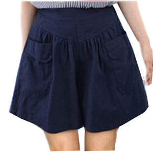 Hot Summer Plus Size 5XL Women's Shorts Pleated High Waist With Pocket Wide Leg Thin Short Pants Khaki Army Green B67238R - Free Wear USA