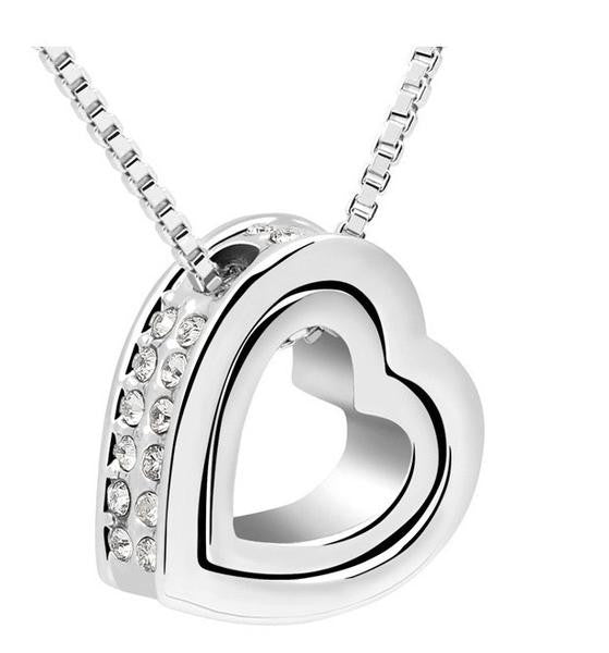 Double Heart Pendant - White Gold - Free Wear USA