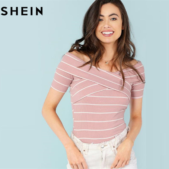 SHEIN Crisscross Front Striped Ribbed Tee Women Elegant Off the Shoulder Short Sleeve Top 2018 Summer Pink Striped T-shirt