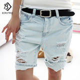 Cotton Casual Plus Size 4XL 2018 Hot Women's Jeans Short Dog Embroidery Holes Ripped Pockets Knee Length Denim Shorts B7031307H - Free Wear USA