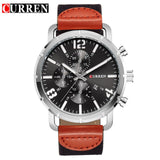 Men's CURREN Luxury Quartz Leather Strap Watch