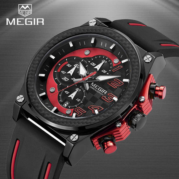 MEGIR Men Fashion Quartz Sport Watch Waterproof Chronograph Auto Date Mens Wristwatch New Male Watches Clock Relogio Masculino