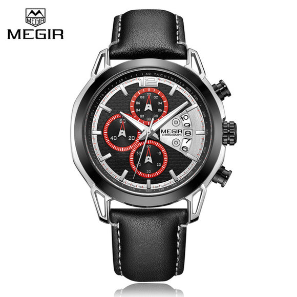 Fashion Men Sport Watches MEGIR Waterproof Chronograh Men Luxury Military Quartz Wrist Watch Casual Leather Strap Business Watch - Free Wear USA
