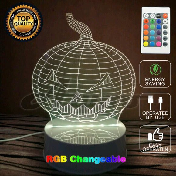 Halloween Pumpkin  3D Remote Control USB LED  7color Transforming Lamp - Free Wear USA