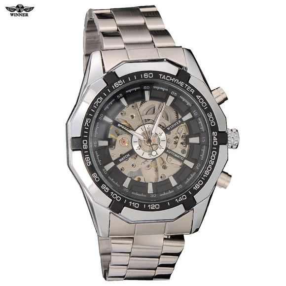 2016 Winner brand Luxury Sport men's Automatic Skeleton Mechanical Military fashion casual Watch Men Silver full Steel Band - Free Wear USA