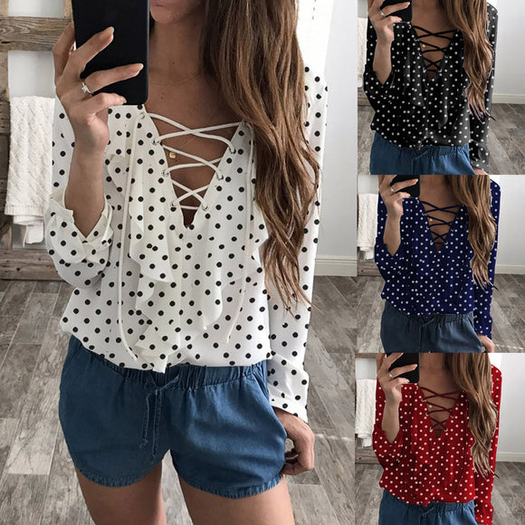 Polka Dot Flowing V Neck