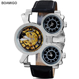 2015 new  watches men luxury brand BOAMIGO steampunk sports watches automatic mechanical Quartz Watch leather band wristwatches - Free Wear USA