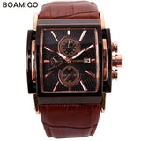 Men's BOAMIGO  Luxury Large Dial  Quartz Retro Rose Gold Brown Leather Strap Watch