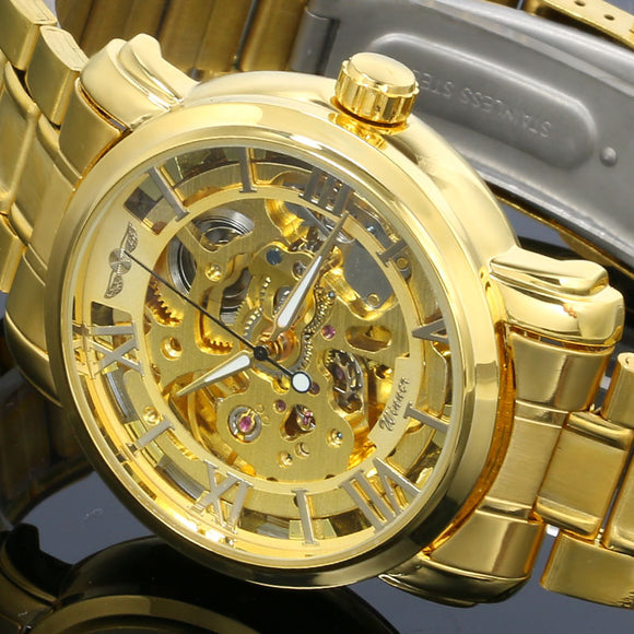 Winner Men's Luxury Military/Sport Automatic Skeleton Full Steel Stainless Watch