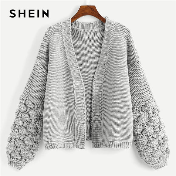 SHEIN Bishop Marled Cardigan