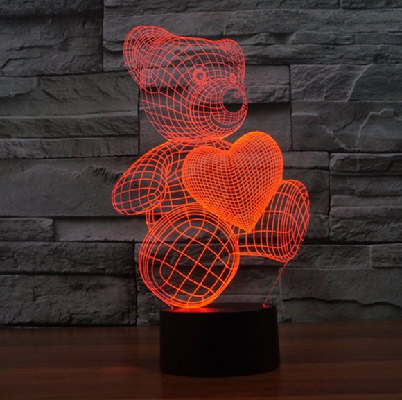 3D Acrylic LED Lamp Night Light/Lamp  Heart Bear - Free Wear USA