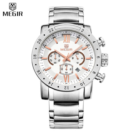 MEGIR Mens Watches Top Brand Luxury Stainless steel Watches Military Chronograph 6 Hands 24 Hours Mens Watches Relogio Masculino