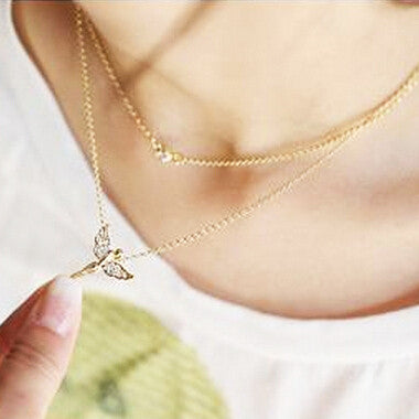 Gold-plated Angel Wings Necklace Statement - Free Wear USA
