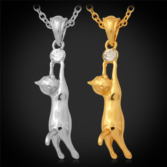 18K Gold Plated Austrian Rhinestone Cute Kitty Cat Necklace - Free Wear USA