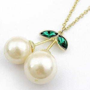Vintage Cute Cherry White Pearl Long Necklace - Free Wear USA