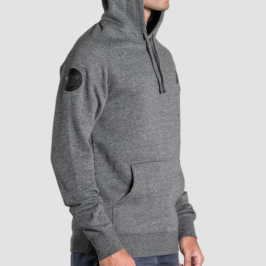Charcoal Embroidered Slash Hoodie
