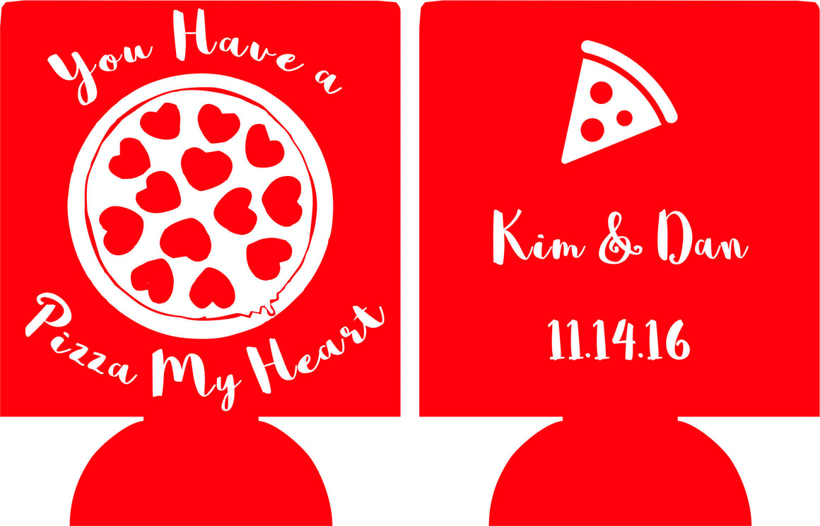 pizza wedding koozies