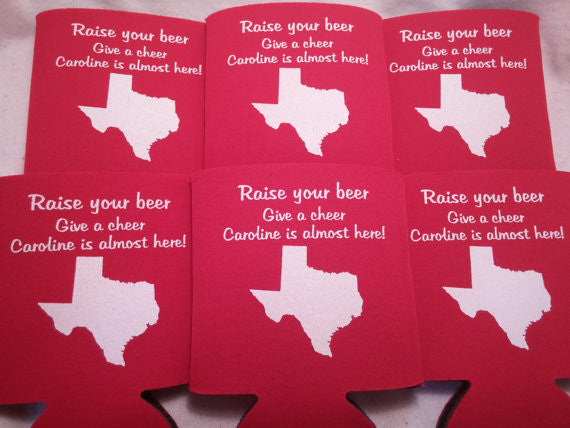 Texas baby shower party favors Can Coolers