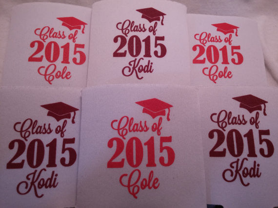 graduation party favors can coolers personalized