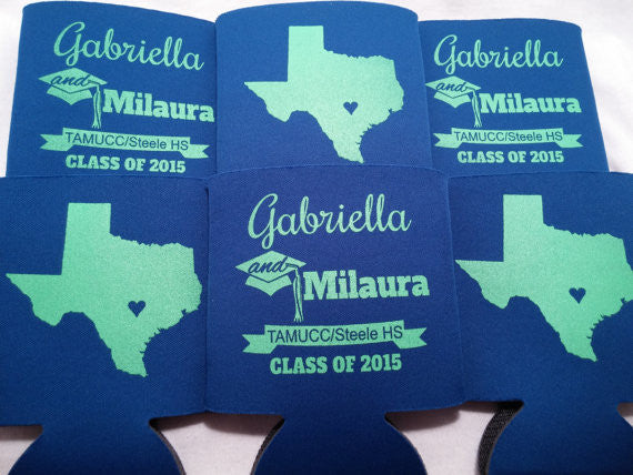 Texas graduation koozies party favors can coolers personalized 1014633008