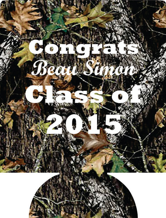 Camo graduation coozies class of party favors can coolers personalized