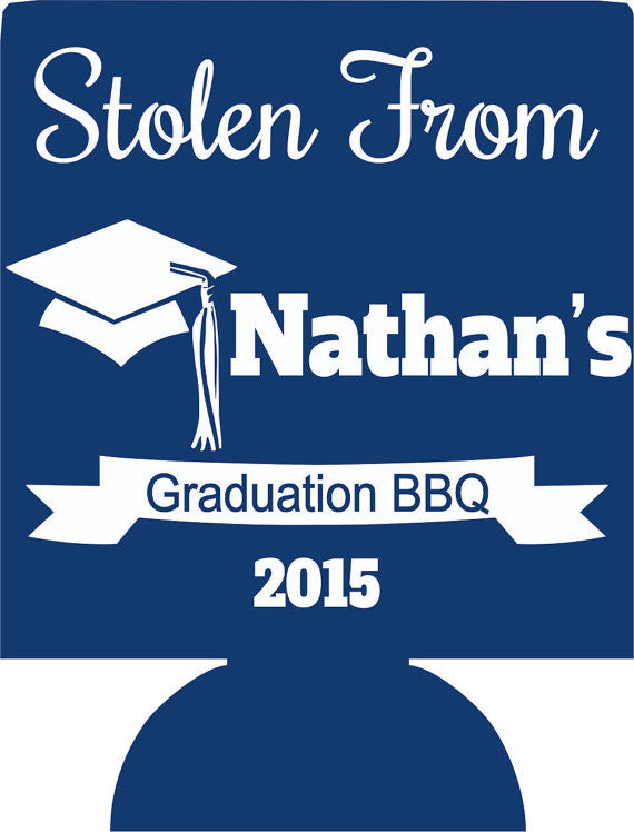 stolen from graduation bbq party favors can coolers personalized