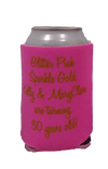 glitter pink sparkle gold 30th Birthday Koozie can cooler
