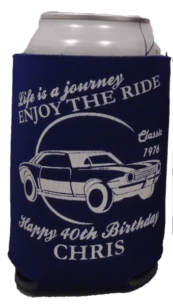 Old Classic Car 40th Birthday koozie can coolers