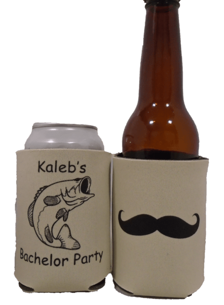 Fish Bachelor Party Koozies custom can coolies mustache