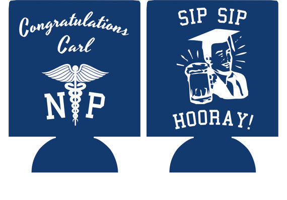 Nursing graduation party favors can coolers personalized 1096287228