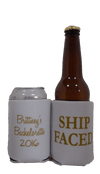 ship faced Bachelorette koozie metallic gold ink can coolers