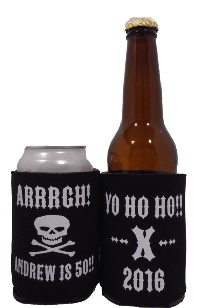 Arrrrgh 50th Pirate Birthday Koozie can coolers