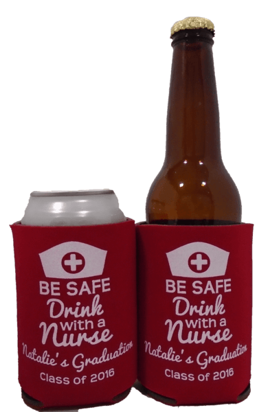 Nurse graduation koozie party favors can coolers