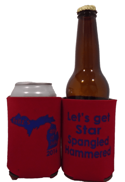 Michigan 4th of July Family weekend koozies star spangled hammered