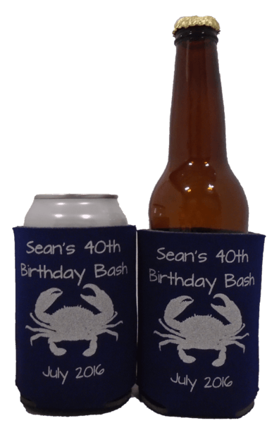 40TH Birthday bash Koozie crab can coolers