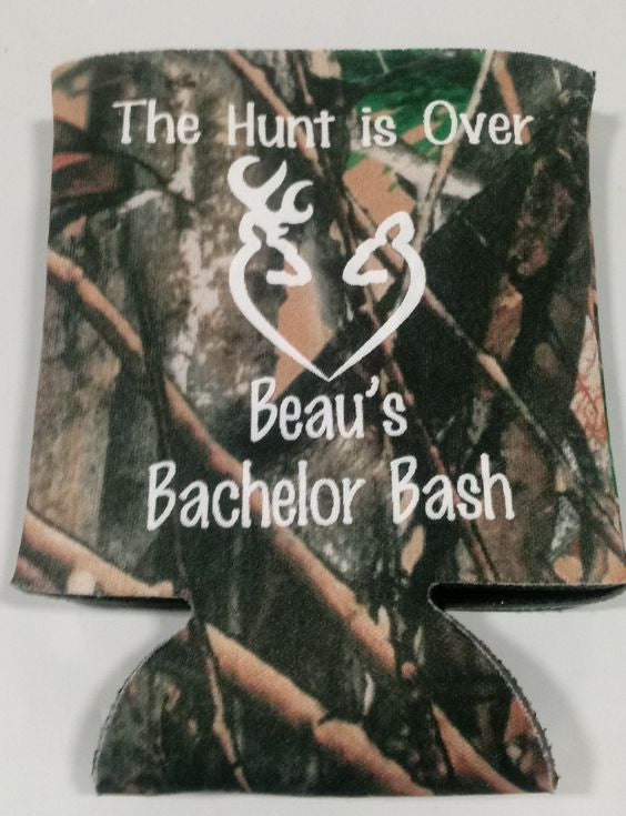 The Hunt is over Camo Bachelor Party koozie Can Coolers 1120744619