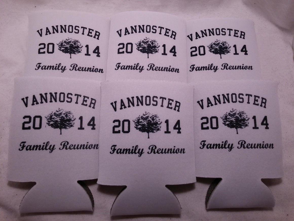Personalized Family reunion koozies custom can coolers