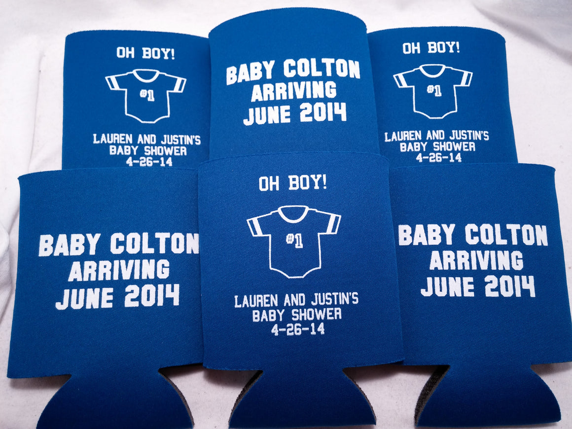 Baby arriving coozie Shower favors Can Coolers customizable