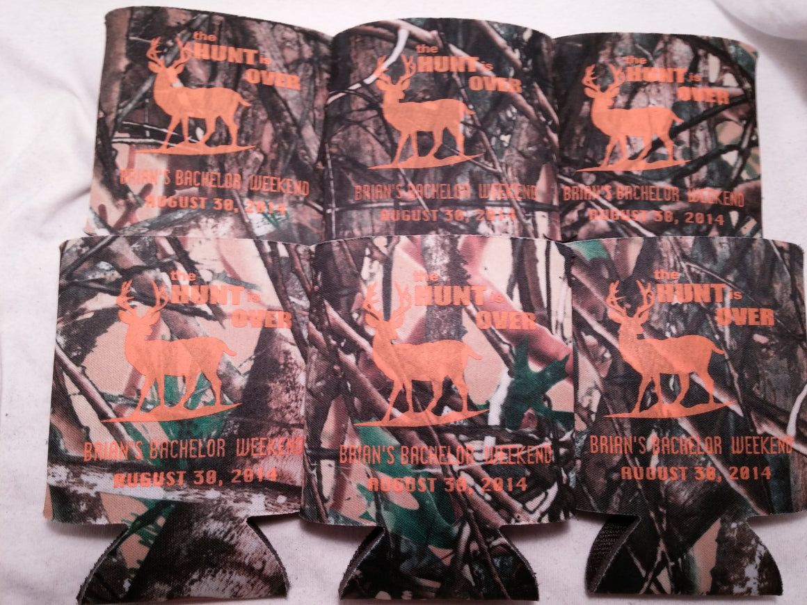 The Hunt is over Camo Bachelor Party custom favors Can Coolers