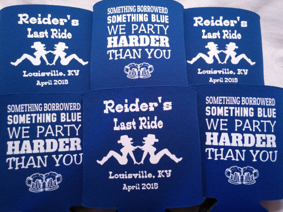 Last Ride Bachelor Party koozies