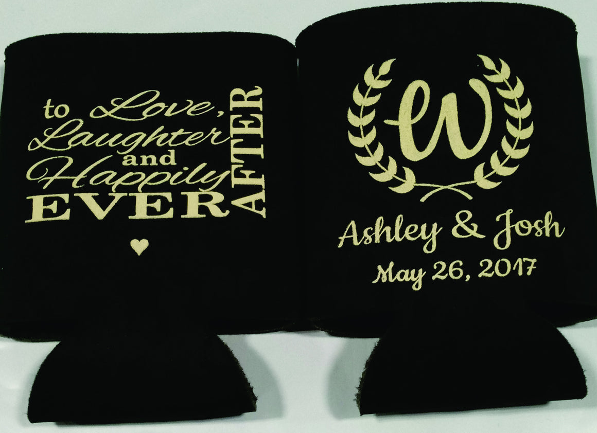 custom love and laughter wedding koozies