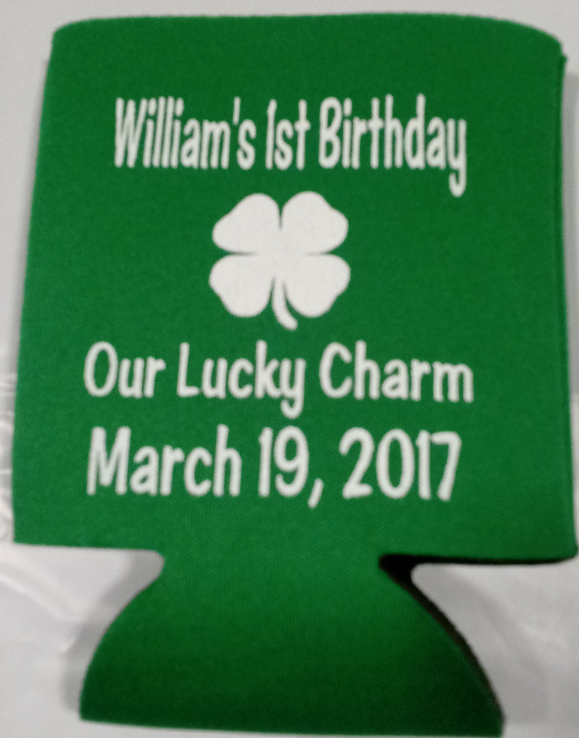 Kids 1st Birthday koozie st paticks day can coolers