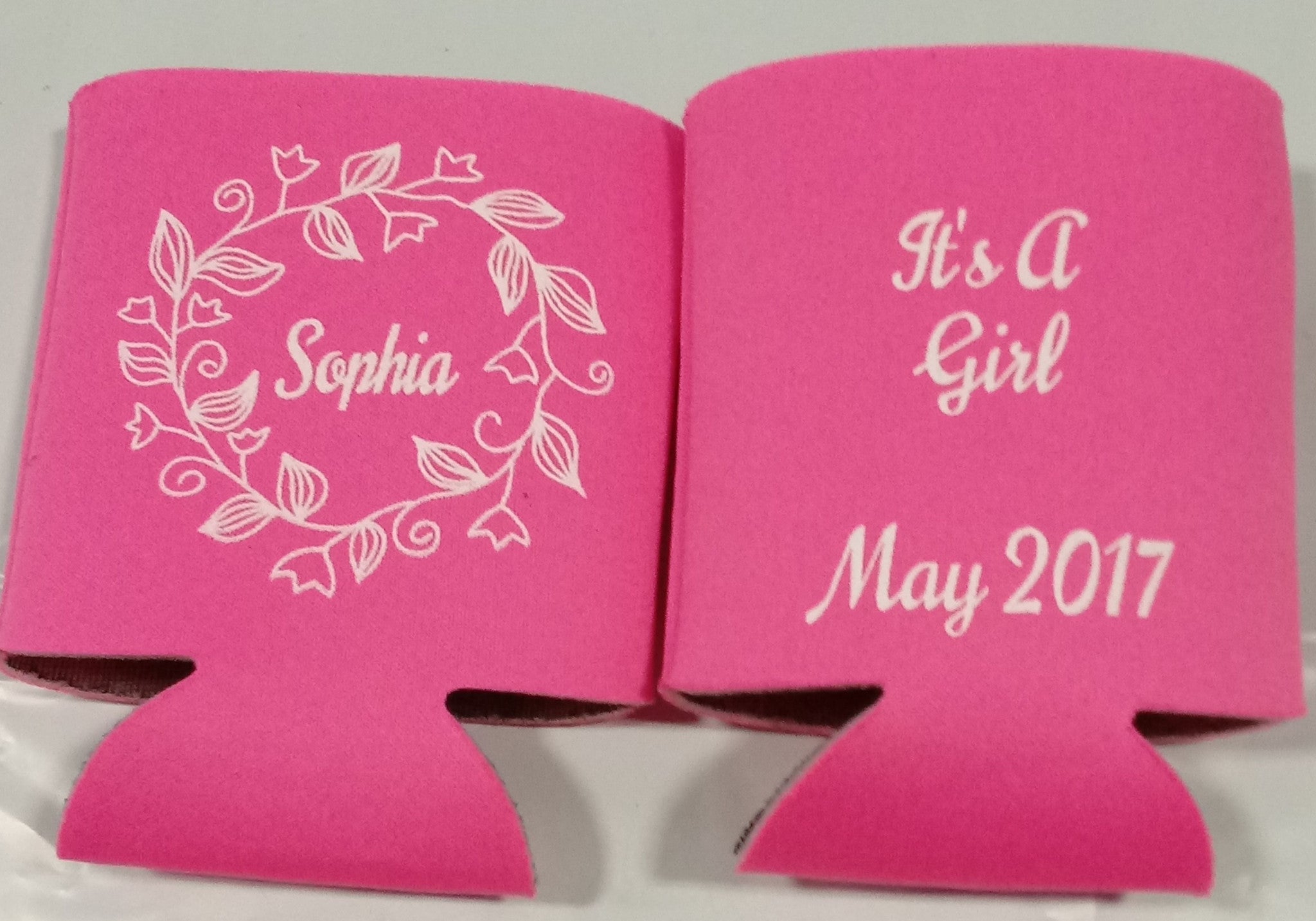Floral Baby Shower koozie it\'s a Girl Can Coolers - OdysseyCustom