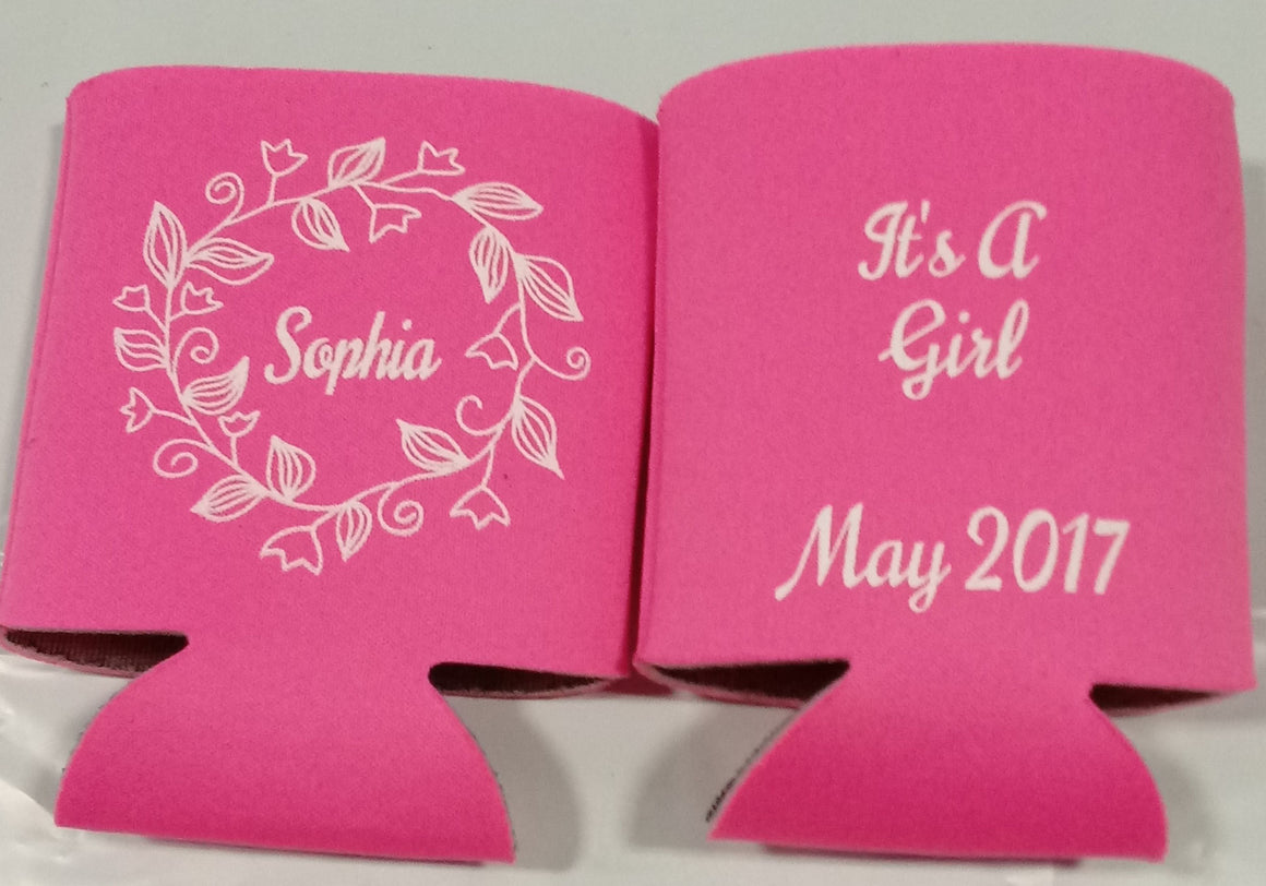 Floral Baby Shower koozie it's a Girl Can Coolers