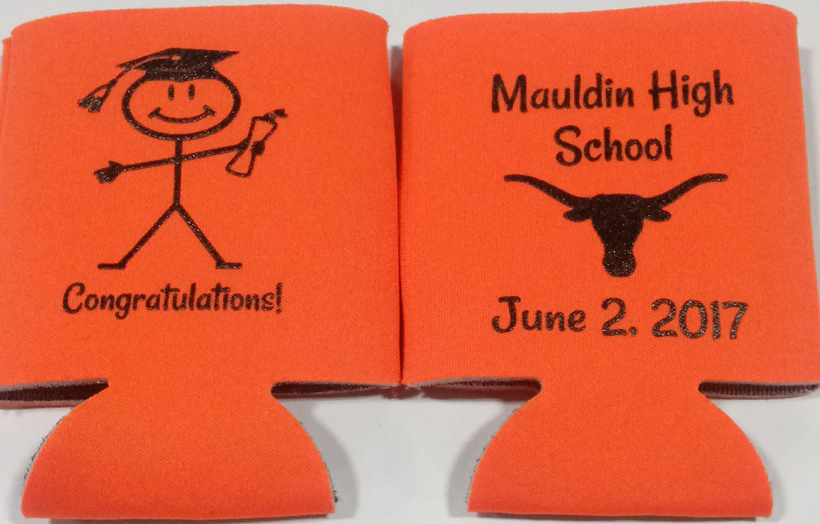 High School graduation personalized koozie can coolers congratulations