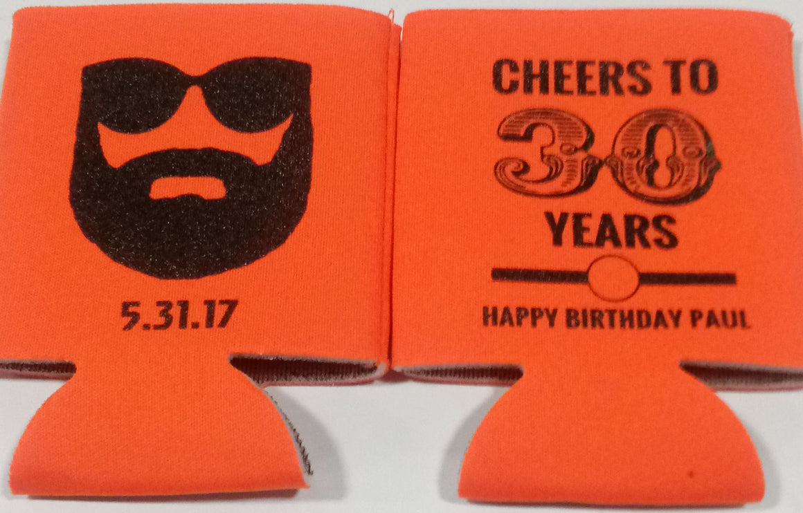 Cheers to 30 years Beard Birthday Koozie can coolers personalized
