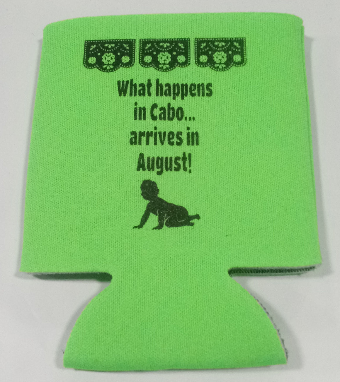 What happens in Cabo arrives in  baby shower koozie party favors Can Coolers